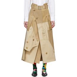 Junya Watanabe Beige Cotton Gabardine Skirt JE-S034-051-1
