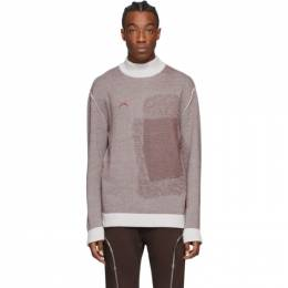 A-Cold-Wall* Burgundy and Grey Merino Jacquard Sweater ACWMK003WHL