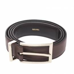 Tom Ford Brown Leather Buckle Belt Size 105CM 270287