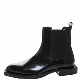 Alexander McQueen Black Leather And Stretch Fabric Ankle Boots Size 41 270634