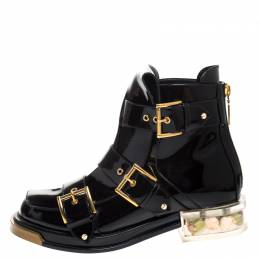 Alexander McQueen Black Patent Leather Buckle Detail Rose Heel Ankle Boots Size 40 270620
