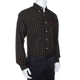 Ralph Lauren Black Plaid Check Cotton Custom Fit Shirt XL 270165