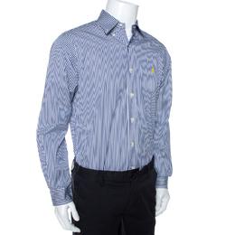 Ralph Lauren Blue & White Striped Cotton Button Down Shirt M 270166