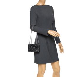 MCM Black Leather Swarovski Crystal Studded Shoulder Bag 270344