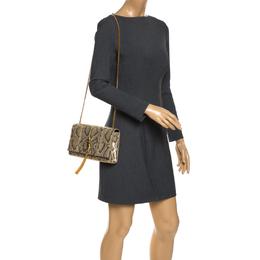 Saint Laurent Metallic Gold Python Medium Kate Tassel Shoulder Bag