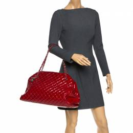 Chanel Red Quilted Patent Leather Large Just Mademoiselle Bowler Bag 270350