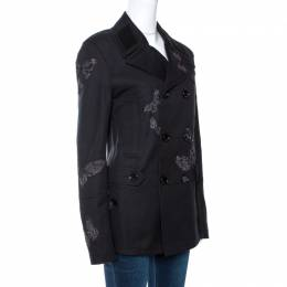 Valentino Black Butterfly Appliqued Cotton Double Breasted Coat M 270225