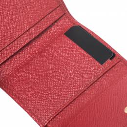 Dolce&Gabbana Red Lizard Embossed Leather Trifold Wallet