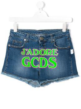 GCDS Kids джинсовые шорты J'Adore с принтом 023987