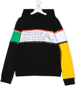 Stella McCartney Kids худи в стиле колор-блок с логотипом 588442SOJ29