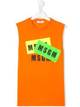 MSGM Kids топ без рукавов с логотипом 22687