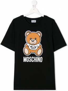 Moschino Kids TEEN logo bear print T-shirt HWM029LBA00