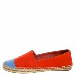 Tory Burch Red/Blue Canvas Cap Toe Logo Espadrille Flats Size 38.5