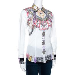 Etro White Paisley Printed Stretch Cotton Shirt S 270728