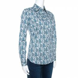 Etro Teal Blue Paisley Printed Stretch Cotton Shirt S 270726