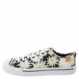 Burberry Black Floral Print Canvas Kingly Low Top Sneakers Size 43.5 270602