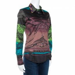 Etro Multicolor Gradient Printed Stretch Cotton Shirt S 270735