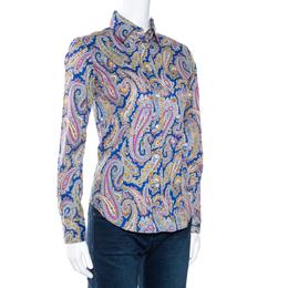 Etro Multicolor Paisley Print Stretch Cotton Shirt S 270737