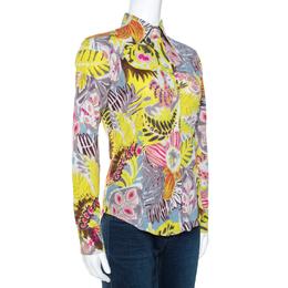 Etro Multicolor Crayon Floral Printed Cotton Jacquard Shirt S 270718