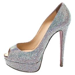 Christian Louboutin Silver Crystal Embellished Lady Peep Toe Platform Pumps Size 38 270579