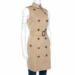 Burberry Brit Beige Cotton Sleeveless Trench Coat S 270168