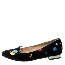 Charlotte Olympia Black Velvet Abstract Kitty Ballet Flats Size 40 270776