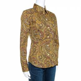 Etro Yellow Paisley Print Stretch Cotton Contrast Trim Shirt S 270747