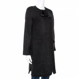 Ch Carolina Herrera Black Lurex Tweed Coat M 270740