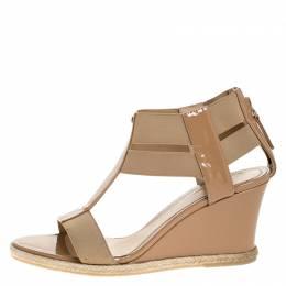 Fendi Beige Patent Leather T-Strap Espadrille Wedge Sandals Size 37.5 270689