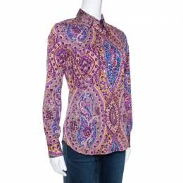 Etro Purple Floral Print Stretch Cotton Shirt S 270751