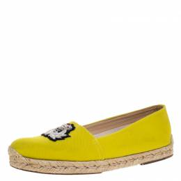Christian Louboutin Yellow Canvas Gala Embroidered Crest Espadrille Loafers Side 38 270821