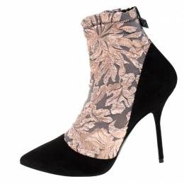 Pierre Hardy Black Suede Leather And Pink Floral Fabric Pointed Toe Ankle Boots Size 38.5 270799