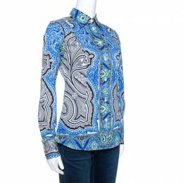 Etro Blue Printed Stretch Cotton Long Sleeve Shirt S 270658