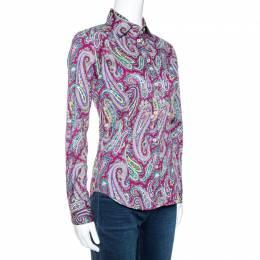 Etro Purple Paisley Print Stretch Cotton Long Sleeve Shirt S 270651
