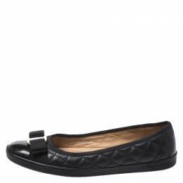 Salvatore Ferragamo Black Leather Vara Bow Ballet Flats Size 37 270463