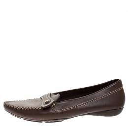 Dior Brown Leather Slip On Loafers Size 37 270917