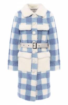 Меховое пальто с поясом Saks Potts 17815 TSUM EXCLUSIVE LUNIS WHITE/BLUE C0AT