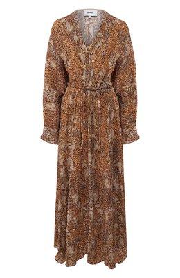 Платье из вискозы Nanushka CHUL_BR0WN SNAKE_60`S PLEAT