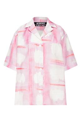Розовая блуза с принтом Vallena Jacquemus 2985187198