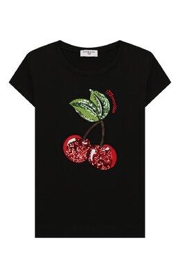 Хлопковая футболка Monnalisa 195632RD