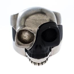 Alexander McQueen Tri Tone Divided Skull Ring Size 19 270604