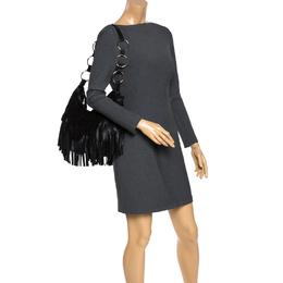 Saint Laurent Black Fringed Suede and Leather La Boheme Shoulder Bag