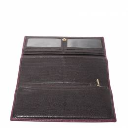 Carolina Herrera Burgundy Leather Long Trifold Wallet 270637
