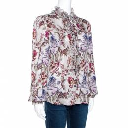 Dolce&Gabbana Grey Floral Print Silk Ruffle Front Blouse M 270702