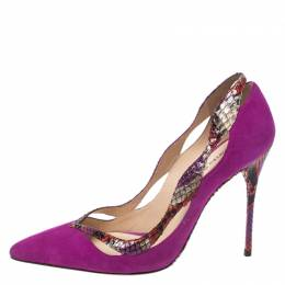 Alexandre Birman Multicolor Python Leather And Suede Pointed Toe Pumps Size 38 270962
