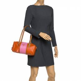 Prada Orange/Pink Perforated Leather Small Fori Striped Boston Bag 270394
