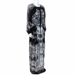 Roberto Cavalli Monochrome Floral Print Silk Kaftan Tunic S 270716