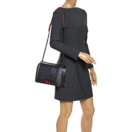 Chanel Grey Cube Embossed Leather New Medium Boy Flap Bag
