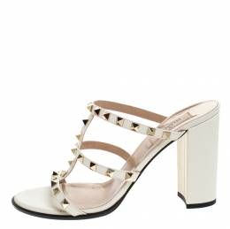Valentino White Leather Rockstud Block Heel Cage Sandals Size 39.5
