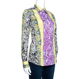 Etro Multicolor Panelled Paisley Print Stretch Cotton Shirt S 270762